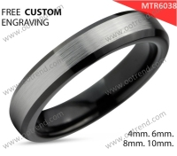 Black slim tungsten ring satin brush surface
