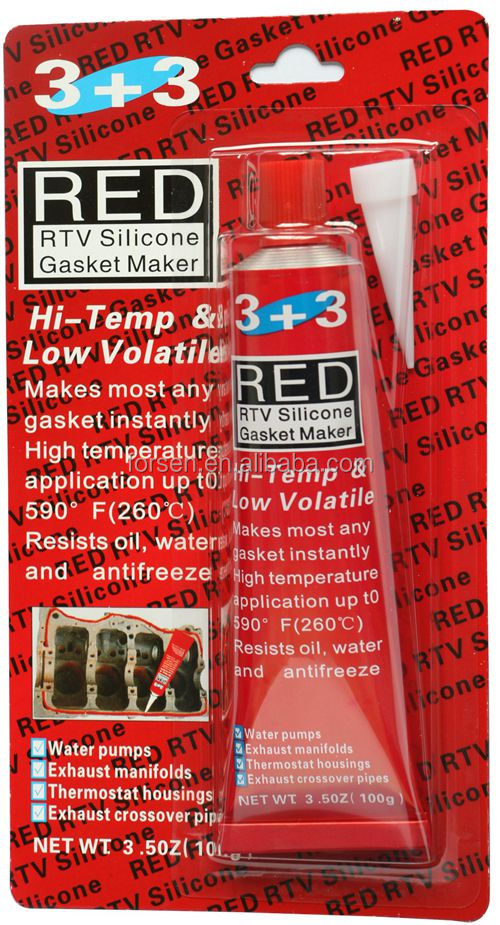 RTV Red silicone gasket maker with high temperaturer rubber adhesive super glue