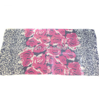 Fashion Latest Design Colorful Large Flower Print Women's Cotton Scarf Shawl