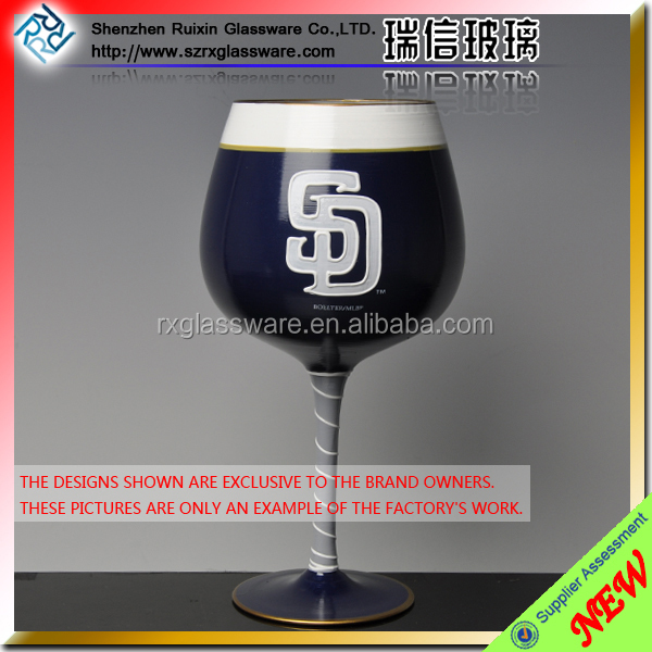 black hand painting colored decal champagne glass customized size with long stem glass crystal holiday model