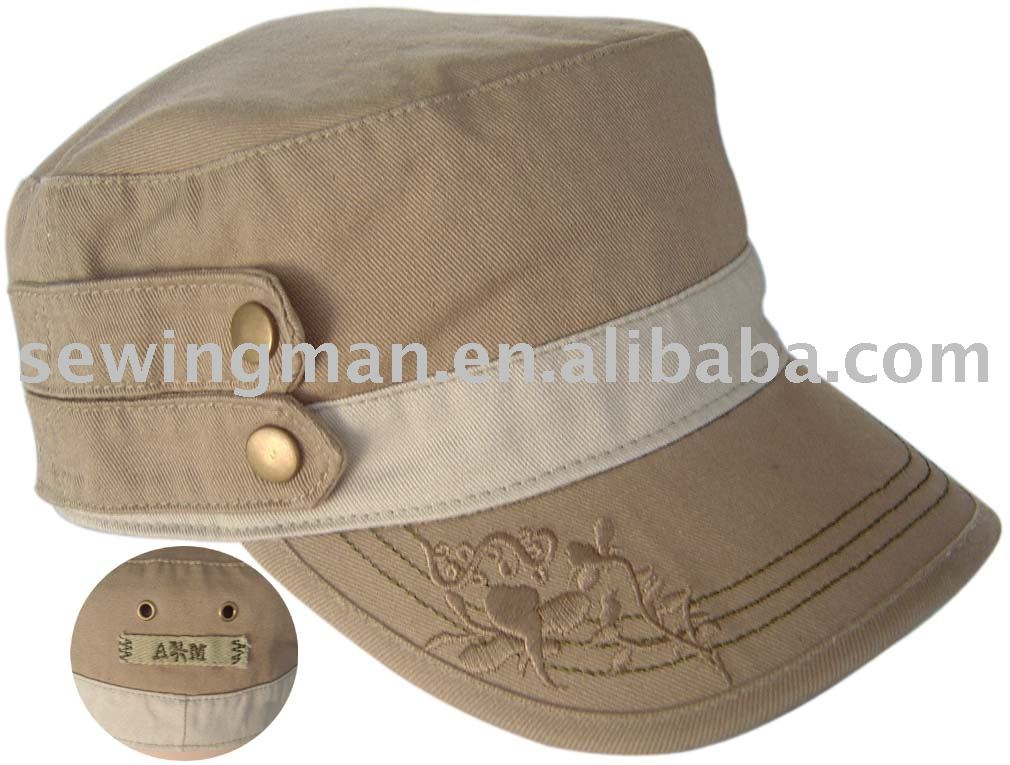 Military style cotton twill washed cap and hat