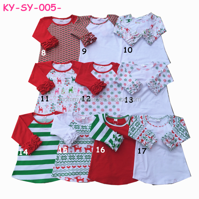 Mommyhome Christmas clothing tops baby girls icing raglan shirts M6090302