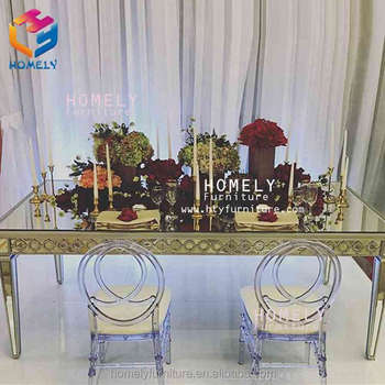 hot sale gold metal rectangle black tempered glass top crystal party dining stainless steel table leg