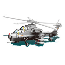 WANGE WZ 10 fighter helicopter DIY ABS military building blocks toys