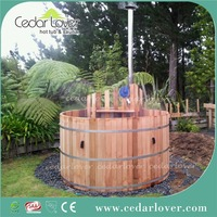 Incredible red cedar wood hot tub with stove