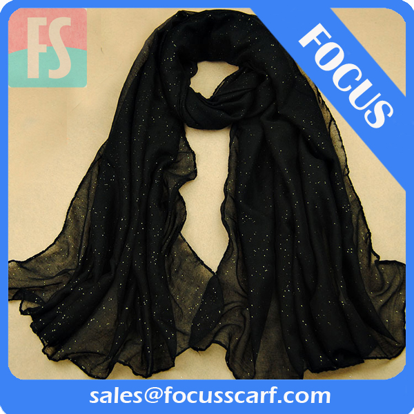 plain black scarf with sequin