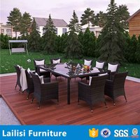 2016 Hot Sale outdoor rattan furniture 10 chairs cane dining table chair set