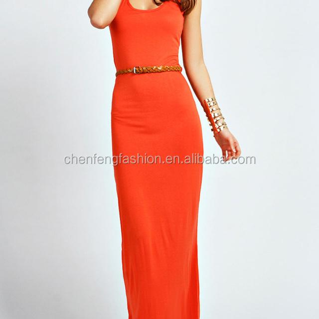 CHEFON Racer back floor length orange long sleeveless maxi dresses