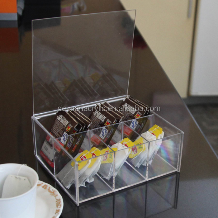 Transparent hot sale acrylic tea bag box/acrylic tea box holder with high quality