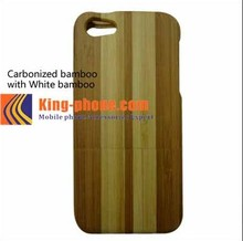 Real wood phone case for iphone 5, carbonized bamboo with white bamboo two parts case for iphone5, white bamboo case