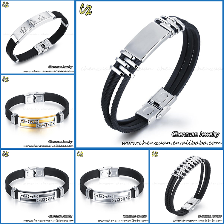 New design fashion silicone rubber bracelet with a stainless steel plate