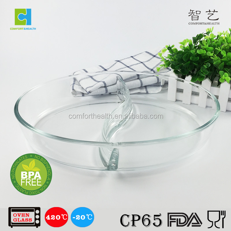 New design oval shape high borosilicate glass ovenware with section divider
