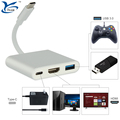 3 in 1 Silver and Black multiport Adapter HUB with PD charging for nintendo switch macbook cellphone