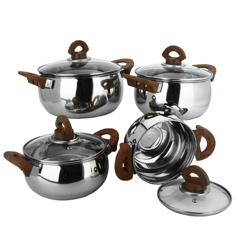 8pcs stainless steel kitchen sauce pot set casserole for Buy kitchen cookware