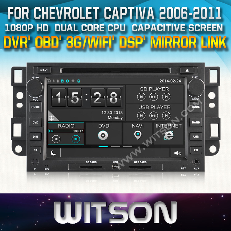 FOR CHEVROLET CAPTIVA CAR RADIO NAVIGATION 2006-2011 STEERING WHEEL CONTROL FRONT DVR CAPACTIVE SCREEN