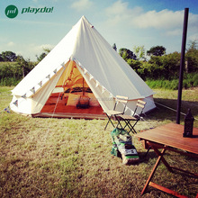 3M/4M/5M/6M Waterproof Canvas bell tent Cotton winter tent wall rolled up for outdoor camping FR mildew proof