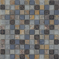 MBP2048 rustic glass mix slate mosaic and resin mosaic for wall tile