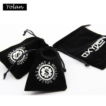Black high quality Small Felt Velvet Pouch for Jewelry