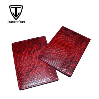 Custom Handmade Red Python Snakeskin Leather Business Card Holder