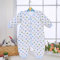 LT-MS-010 Winter keep warm polk dot print baby boy100% cotton babygrow