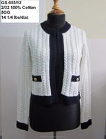 Ladies 100% cotton knitted cardigan, sweater
