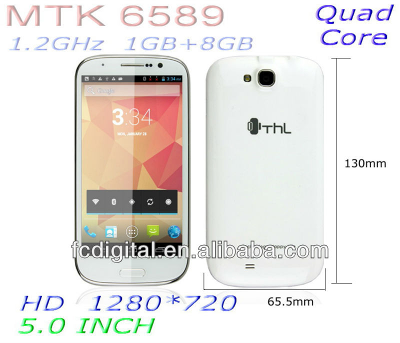 5 inch MTK6589 unlocked quad core smart phone