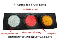 "4"" round 3 in 1 LED Iron plate truck lamp, 12-24 V stop and driving beacon warning light"