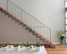 Double Spine Steel Support Straight Stairway/Wood Staircase