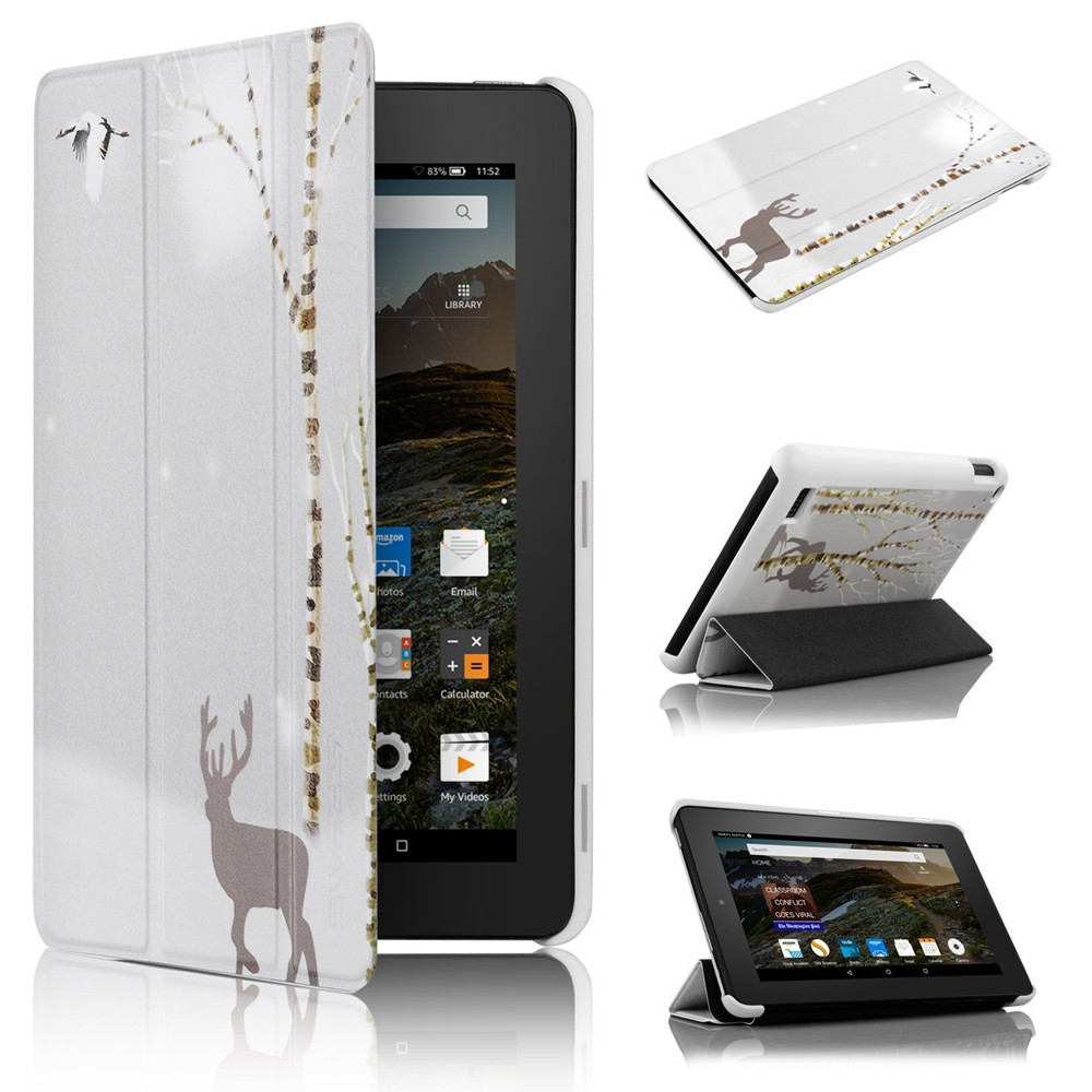 Case Cover for Amazon Kindle Fire 7 with Reindeer printing PU Leather Magnetic Slim Case