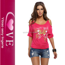 pictures of girls round neck casual design off shoulders cotton tops shirts for woman