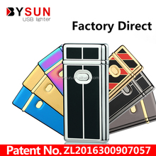Hot sale zinc alloy double electronic arc usb lighter