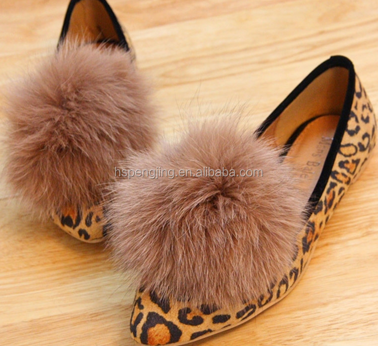 The colorful christmas rex rabbit fur pompom ball for shoes and scarves