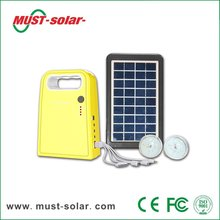 <Must Solar> 3W Panel solar home system kit with 4Ah battery/2pcs 1.2W LED bulb/USB cable