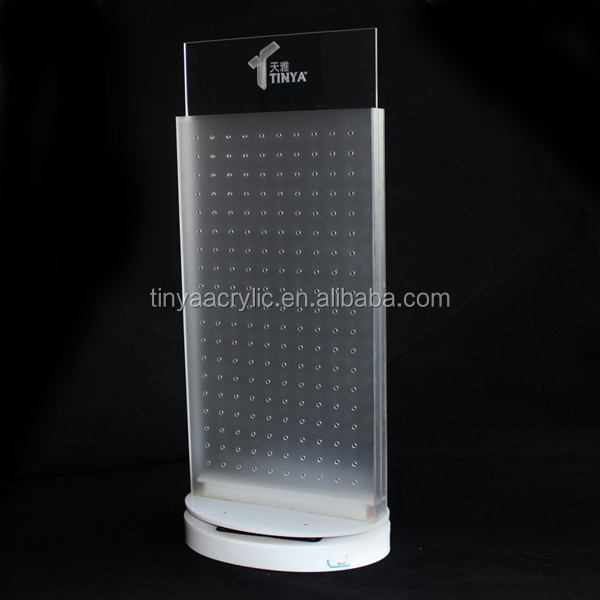 Countertop Full Pegboard USB Phone Charger Display Stand,Lighted Acrylic Spinning Phone Accessories Mobile Display Wholesale