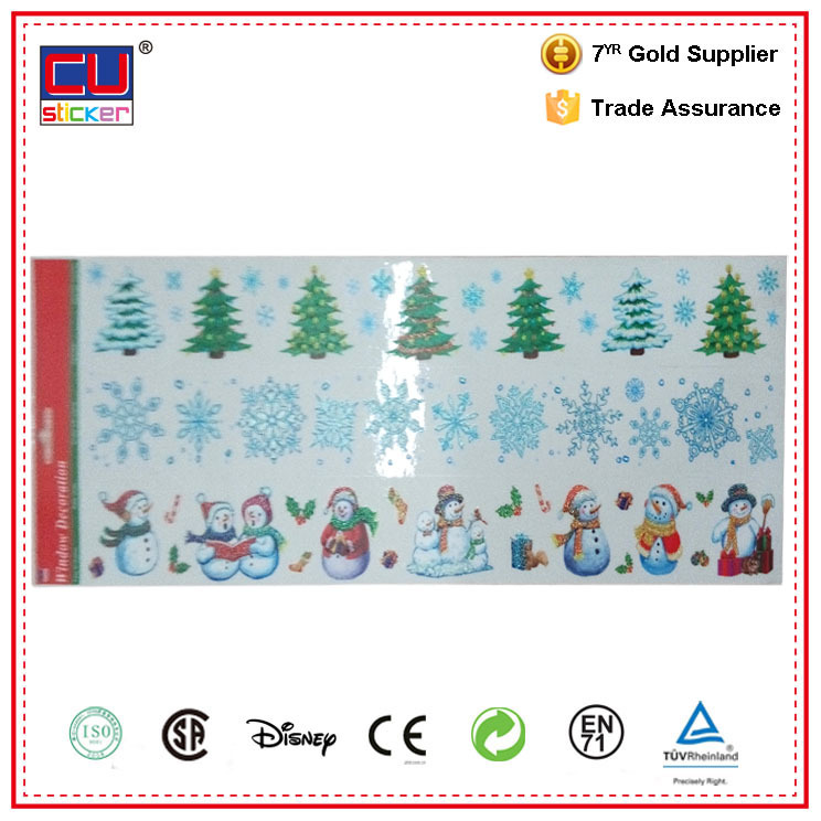 Christmas reusable glitter sticker transparent window stickers and decals