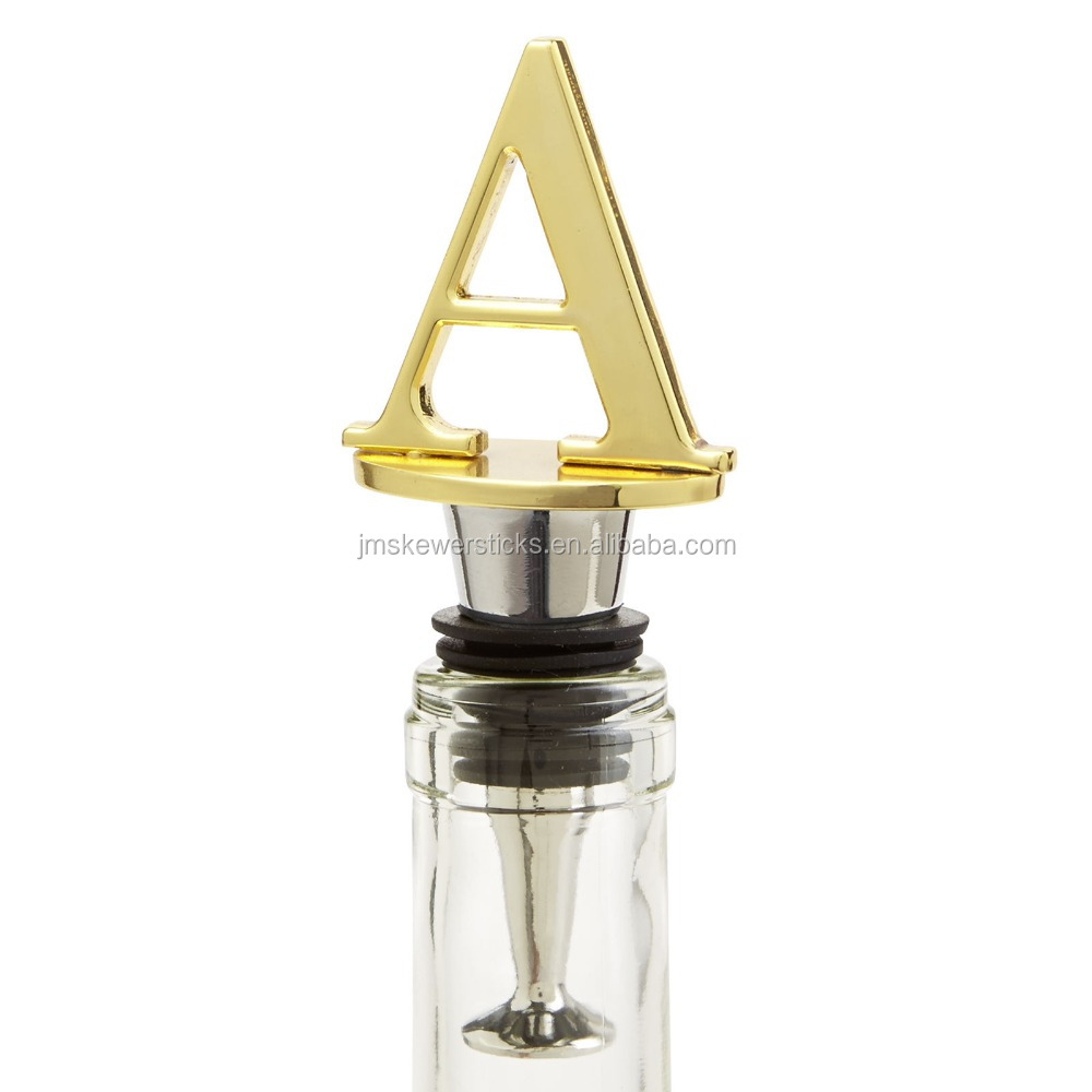 Golden color Monogram letter wine stopper supply