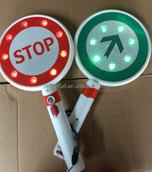 Go Stop LED arrow Hand held stop warning sign