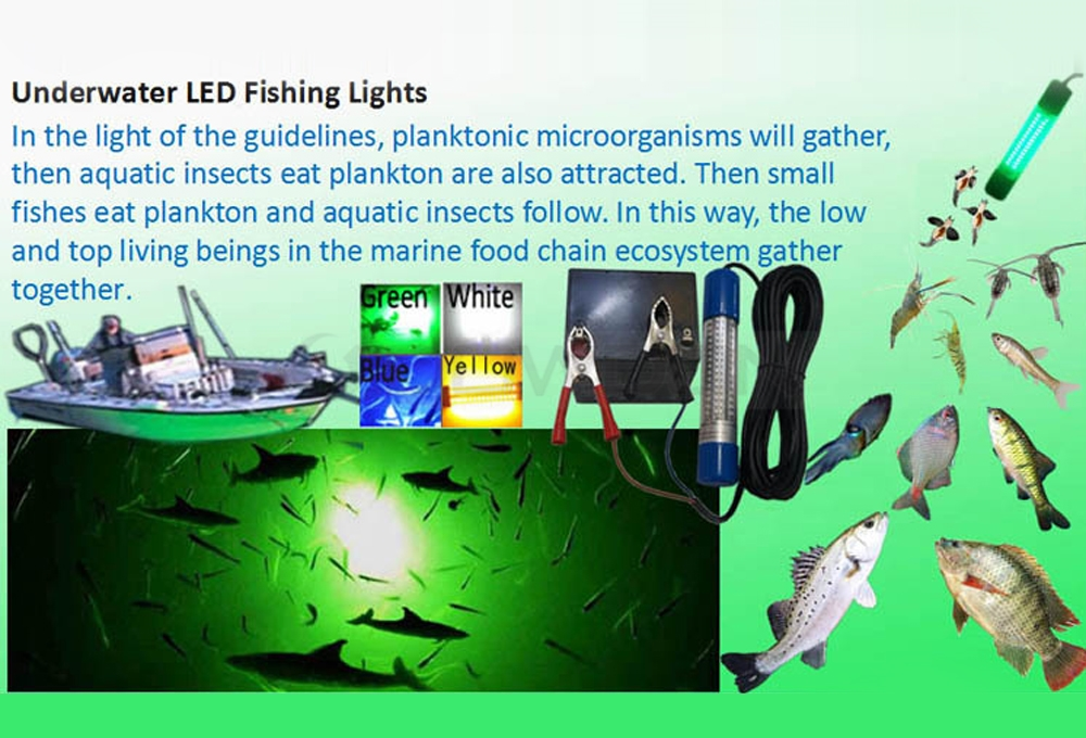12-24V LED Underwater Fishing Lure Light Attracting Fish Lamp