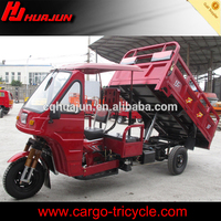 With driver semi-cabin hydraulic self dumping tricycle for sale