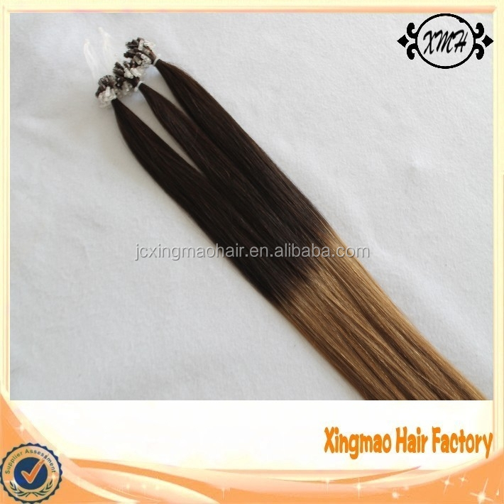 New Arrival Double Drawn 100% Remy Human Silicone Lined Micro Loop Hair Extension Ombre Color European Human Healthy Hair
