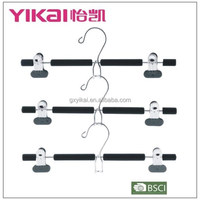 EVA foam metal skirt hangers with clips and a space saving hook in black color