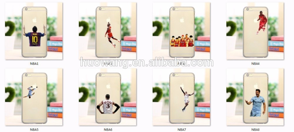 casual style nba basketball star personalized printing clear tpu cell phone case for iphone 6 /5 /4