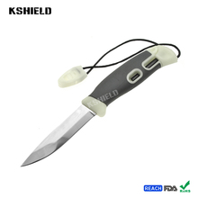 Hot Sharp Plastic Handle Stainless Steel Survival Camping Knife with Whistle