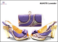 Wholesale lady italian shoes matching bag set women ankara wax shoes and bags MS4378 Lavender