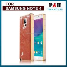 Luxury 2 in 1 Cell Phone Cover Protective Cases Genuine Real Leather Metal Aluminum Bumper Frame for Samsung Galaxy Note 3 4