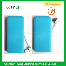 Smart hong kong cheap price mobile phone power bank with built in cable wire