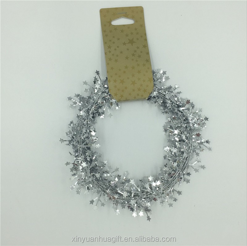Wholesale Shiny Silver Metallic Chiristmas Wired pvc Tinsel Garland