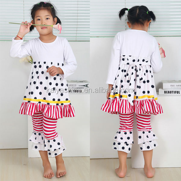 Dot and stripe pattern stylish long sleeves loose casual festival girl wear set great retail children clothing