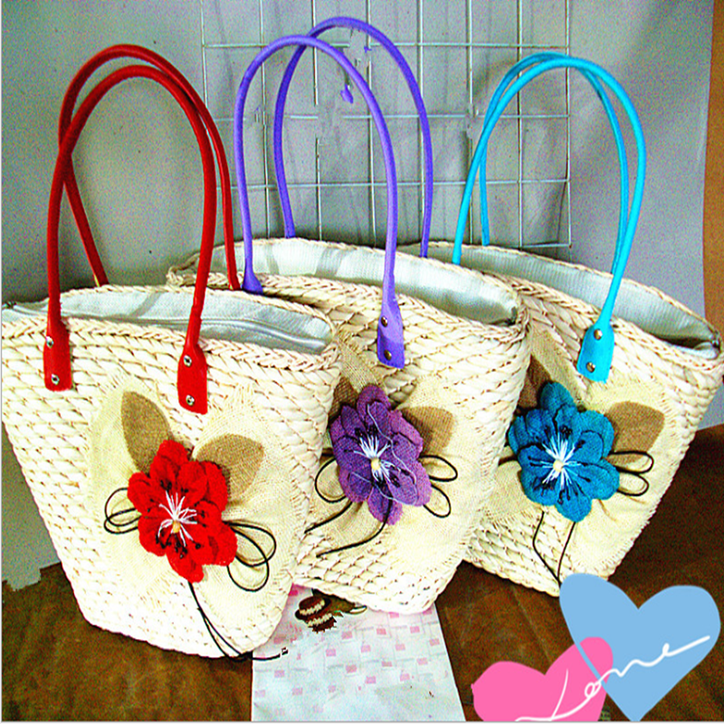 Popular large linen flower fashion handbag of straw bag woman bag