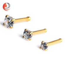 High Quality prong setting Drop gold diamond nose pin